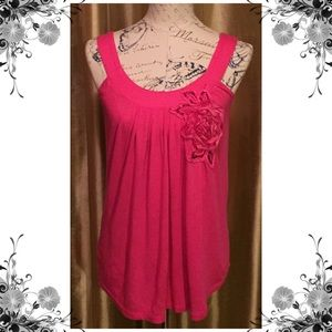 Express Tunic Style Tank with Floral Accent